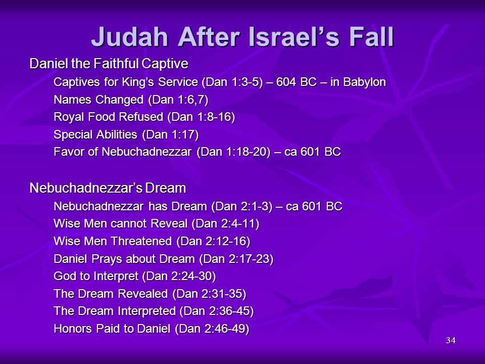 34 Judah After Israel's Fall Daniel the Faithful Captive Captives for King's Service (Dan 1:3-5) – 604 BC – in Babylon Names Changed (Dan 1:6,7) Royal