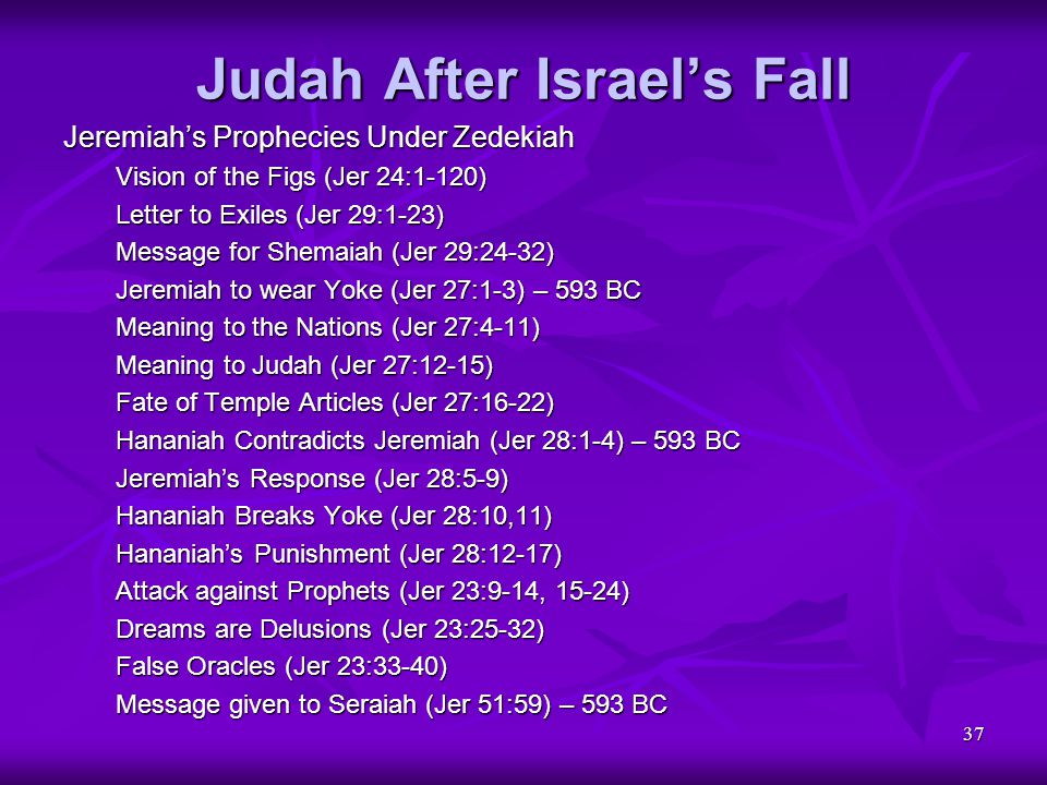37 Judah After Israel's Fall Jeremiah's Prophecies Under Zedekiah Vision of the Figs (Jer 24:1-120) Letter to Exiles (Jer 29:1-23) Message for Shemaia