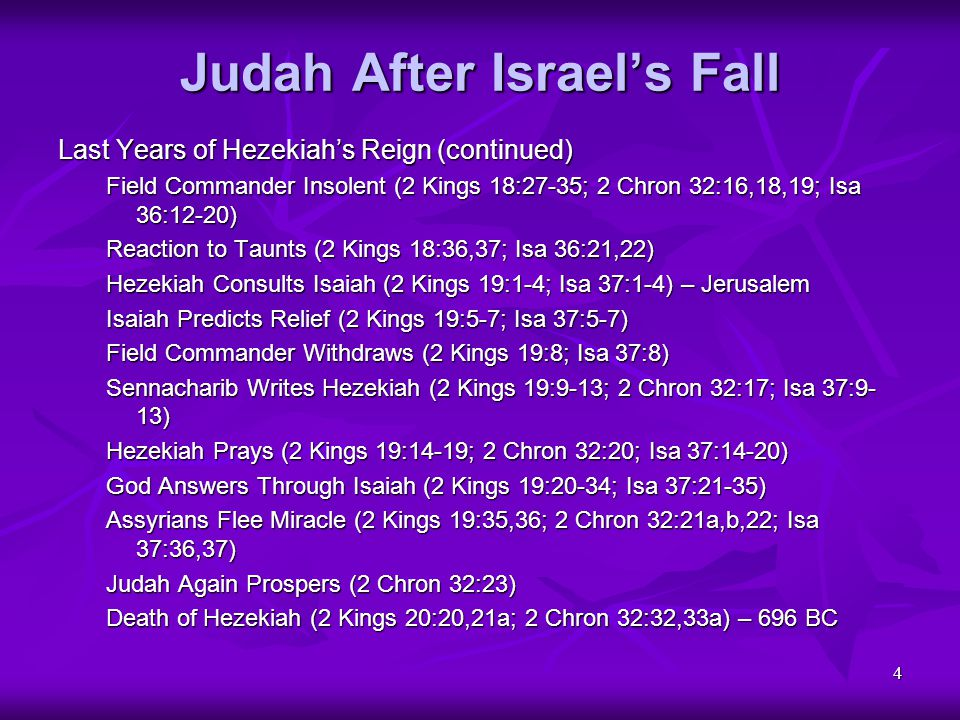 4 Judah After Israel's Fall Last Years of Hezekiah's Reign (continued) Field Commander Insolent (2 Kings 18:27-35; 2 Chron 32:16,18,19; Isa 36:12-20)