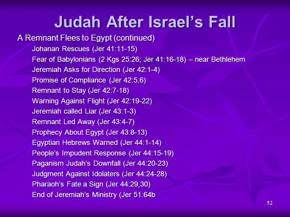 52 Judah After Israel's Fall A Remnant Flees to Egypt (continued) Johanan Rescues (Jer 41:11-15) Fear of Babylonians (2 Kgs 25:26; Jer 41:16-18) – nea