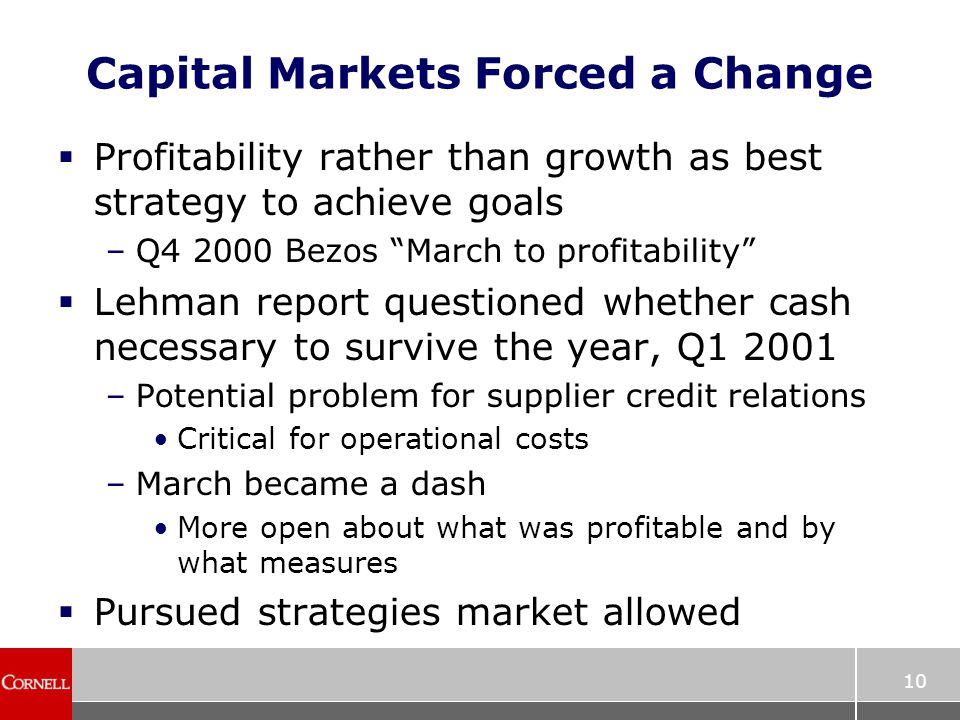 10 Capital Markets Forced a Change  Profitability rather than growth as best strategy to achieve goals –Q4 2000 Bezos March to profitability  Lehman report questioned whether cash necessary to survive the year, Q1 2001 –Potential problem for supplier credit relations Critical for operational costs –March became a dash More open about what was profitable and by what measures  Pursued strategies market allowed