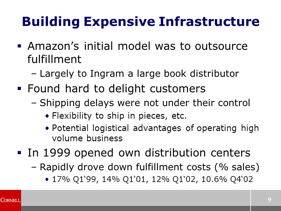 9 Building Expensive Infrastructure  Amazon's initial model was to outsource fulfillment –Largely to Ingram a large book distributor  Found hard to delight customers –Shipping delays were not under their control Flexibility to ship in pieces, etc.