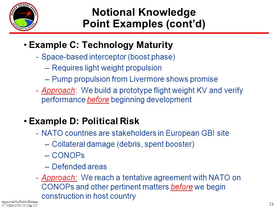 24 Notional Knowledge Point Examples (cont'd) Example C: Technology Maturity -Space-based interceptor (boost phase) –Requires light weight propulsion