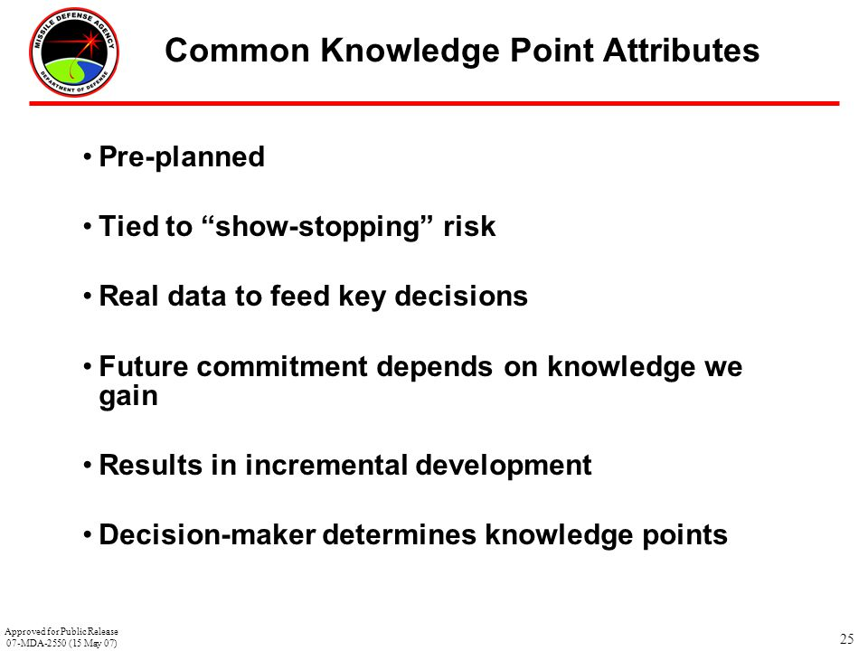 """25 Common Knowledge Point Attributes Pre-planned Tied to """"show-stopping"""" risk Real data to feed key decisions Future commitment depends on knowledge w"""