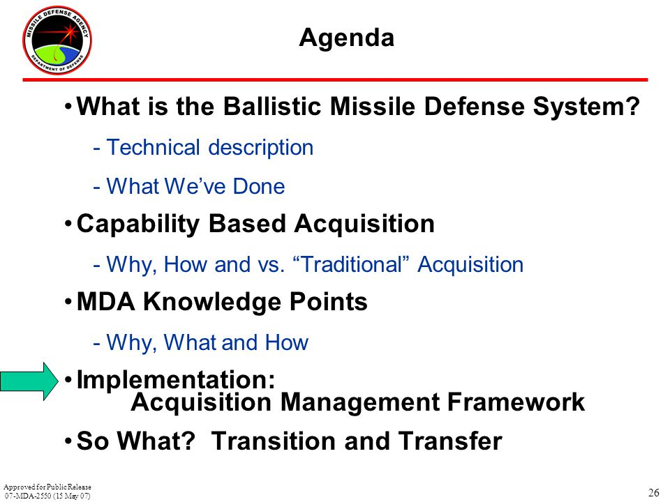 """26 Agenda What is the Ballistic Missile Defense System? -Technical description -What We've Done Capability Based Acquisition -Why, How and vs. """"Tradit"""