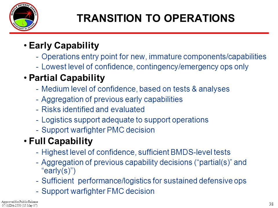 38 TRANSITION TO OPERATIONS Early Capability -Operations entry point for new, immature components/capabilities -Lowest level of confidence, contingenc