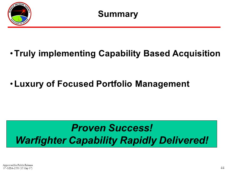 44 Summary Truly implementing Capability Based Acquisition Luxury of Focused Portfolio Management Proven Success! Warfighter Capability Rapidly Delive