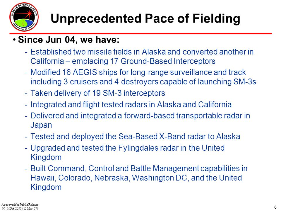 6 Unprecedented Pace of Fielding Since Jun 04, we have: -Established two missile fields in Alaska and converted another in California – emplacing 17 G