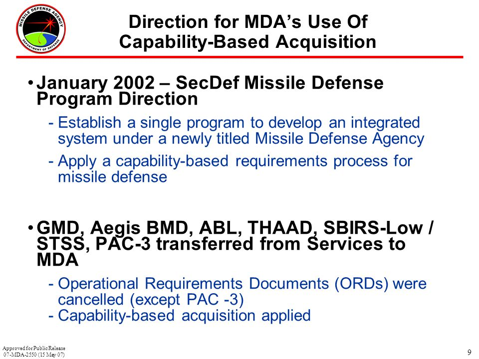 9 Direction for MDA's Use Of Capability-Based Acquisition January 2002 – SecDef Missile Defense Program Direction -Establish a single program to devel