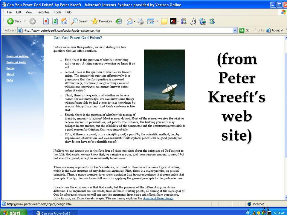 (from Peter Kreeft's web site) 23