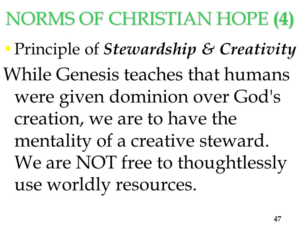 NORMS OF CHRISTIAN HOPE (4) Principle of Stewardship & Creativity While Genesis teaches that humans were given dominion over God s creation, we are to have the mentality of a creative steward.