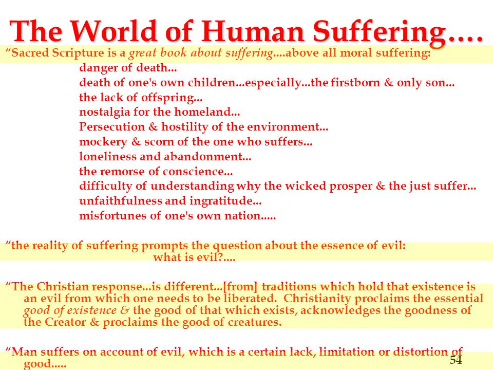 The World of Human Suffering….
