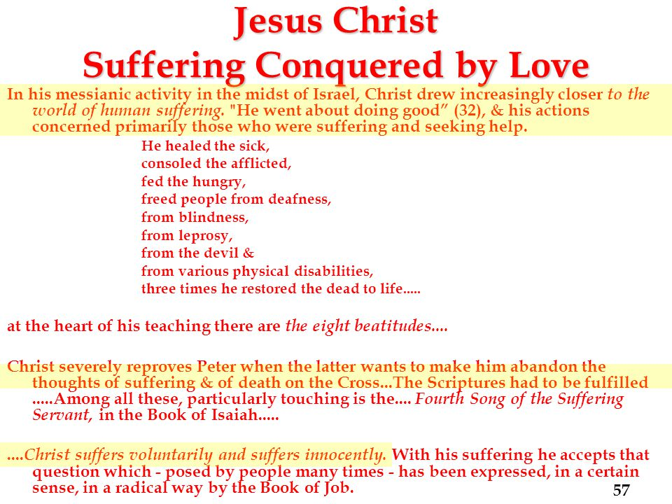 Jesus Christ Suffering Conquered by Love In his messianic activity in the midst of Israel, Christ drew increasingly closer to the world of human suffering.