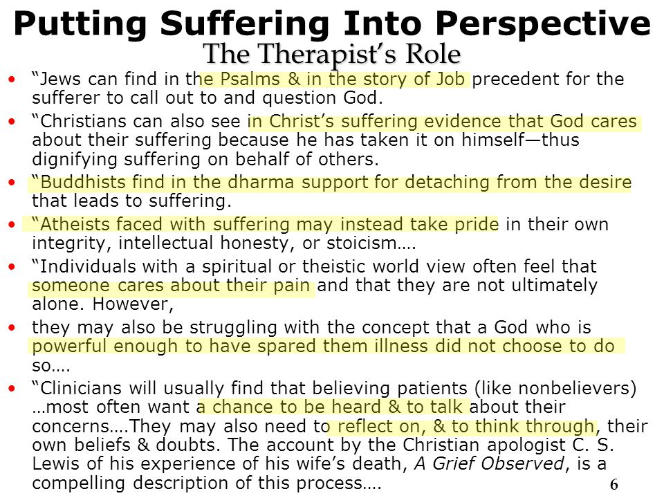 Putting Suffering Into Perspective Jews can find in the Psalms & in the story of Job precedent for the sufferer to call out to and question God.