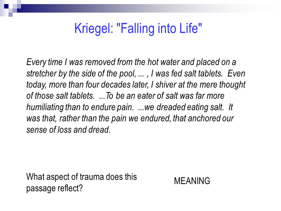 Every time I was removed from the hot water and placed on a stretcher by the side of the pool,..., I was fed salt tablets.