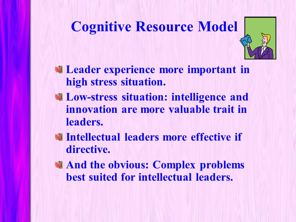 Cognitive Resource Model Published in 1987 by Fred Fiedler and Joseph Garcia. Theory relating stress and leader's intelligence/experience.