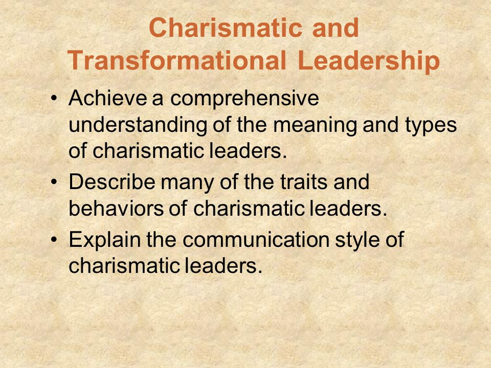 Transformational Leadership The transformational leader helps bring about major, positive changes Transformational leaders move group members beyond t