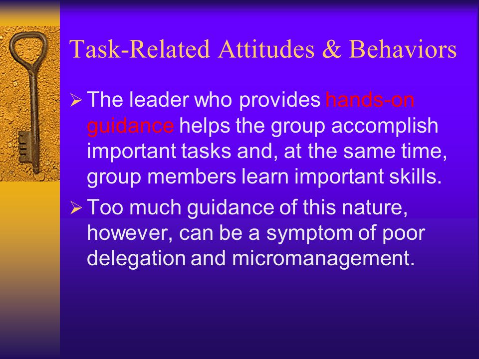 Task-Related Attitudes & Behaviors  Combined with risk taking, a bias for action is also an important leadership behavior.  To bring about construct