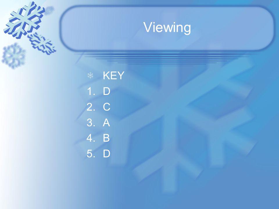 Viewing KEY 1.D 2.C 3.A 4.B 5.D