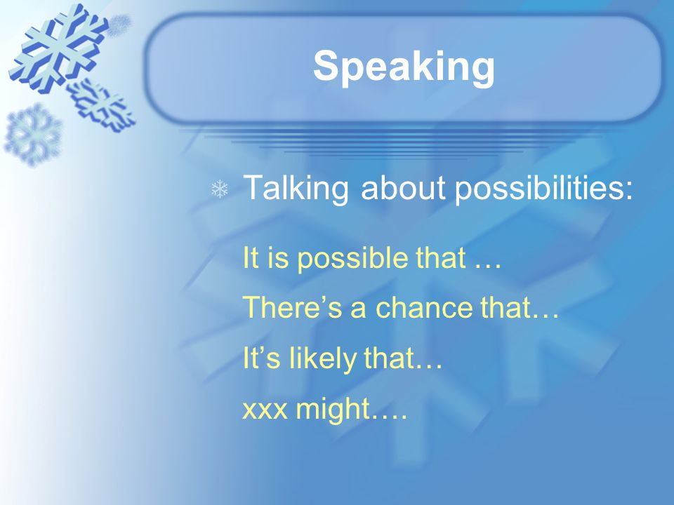 Speaking Talking about possibilities: It is possible that … There's a chance that… It's likely that… xxx might….