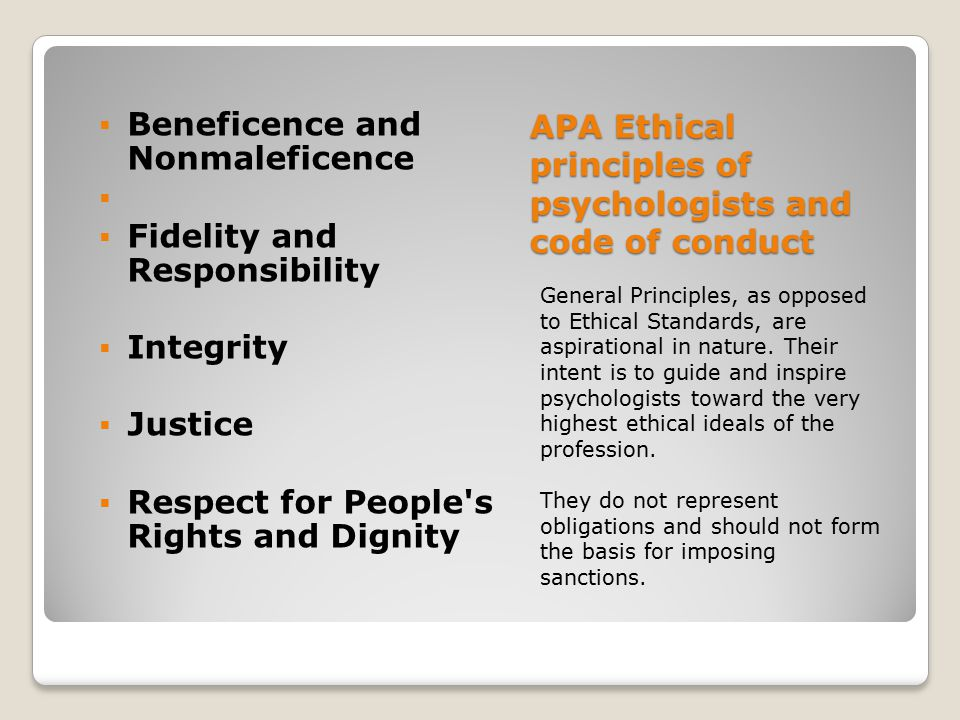 APA Ethical principles of psychologists and code of conduct General Principles, as opposed to Ethical Standards, are aspirational in nature. Their int