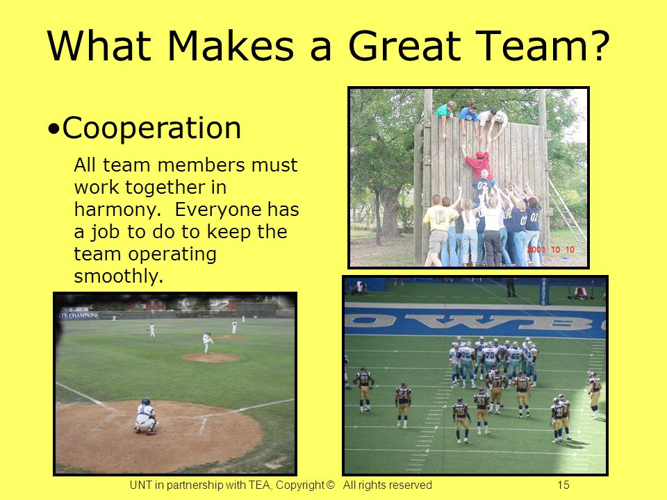 What Makes a Great Team. Cooperation All team members must work together in harmony.