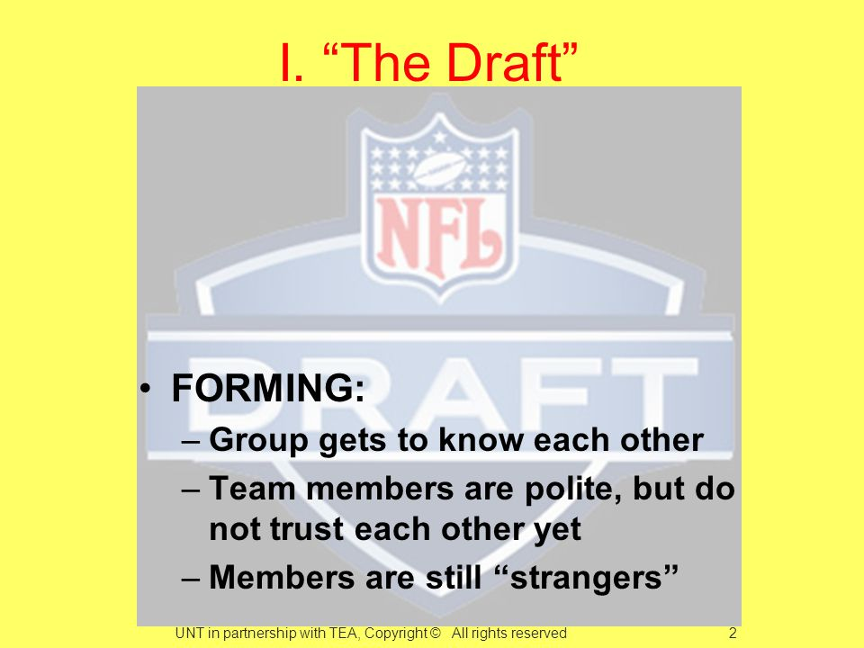 FORMING: –Group gets to know each other –Team members are polite, but do not trust each other yet –Members are still strangers I.