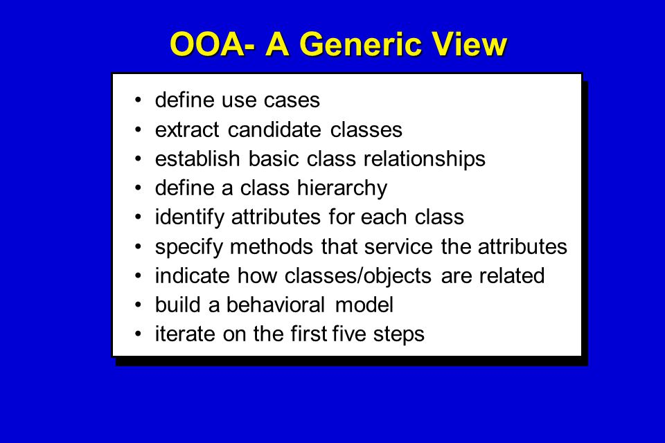 OOA- A Generic View define use cases extract candidate classes establish basic class relationships define a class hierarchy identify attributes for ea