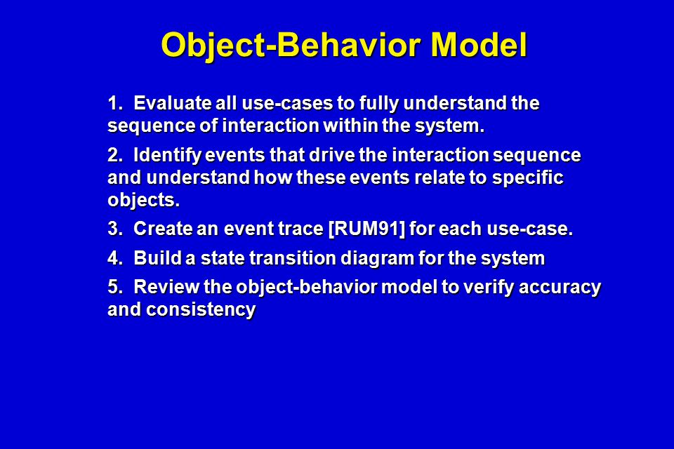 Object-Behavior Model 1. Evaluate all use-cases to fully understand the sequence of interaction within the system. 2. Identify events that drive the i