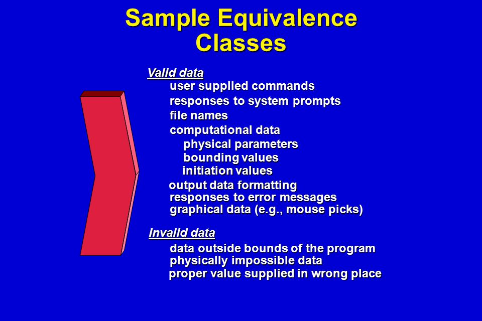 Sample Equivalence Classes user supplied commands responses to system prompts file names computational data physical parameters physical parameters bo