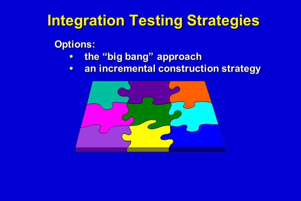 "Integration Testing Strategies Options: the ""big bang"" approachthe ""big bang"" approach an incremental construction strategyan incremental construction"