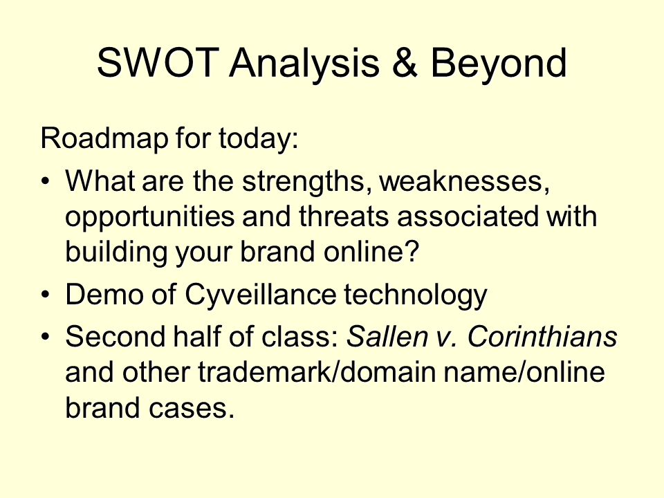 SWOT Analysis & Beyond Roadmap for today: What are the strengths, weaknesses, opportunities and threats associated with building your brand online?What are the strengths, weaknesses, opportunities and threats associated with building your brand online.