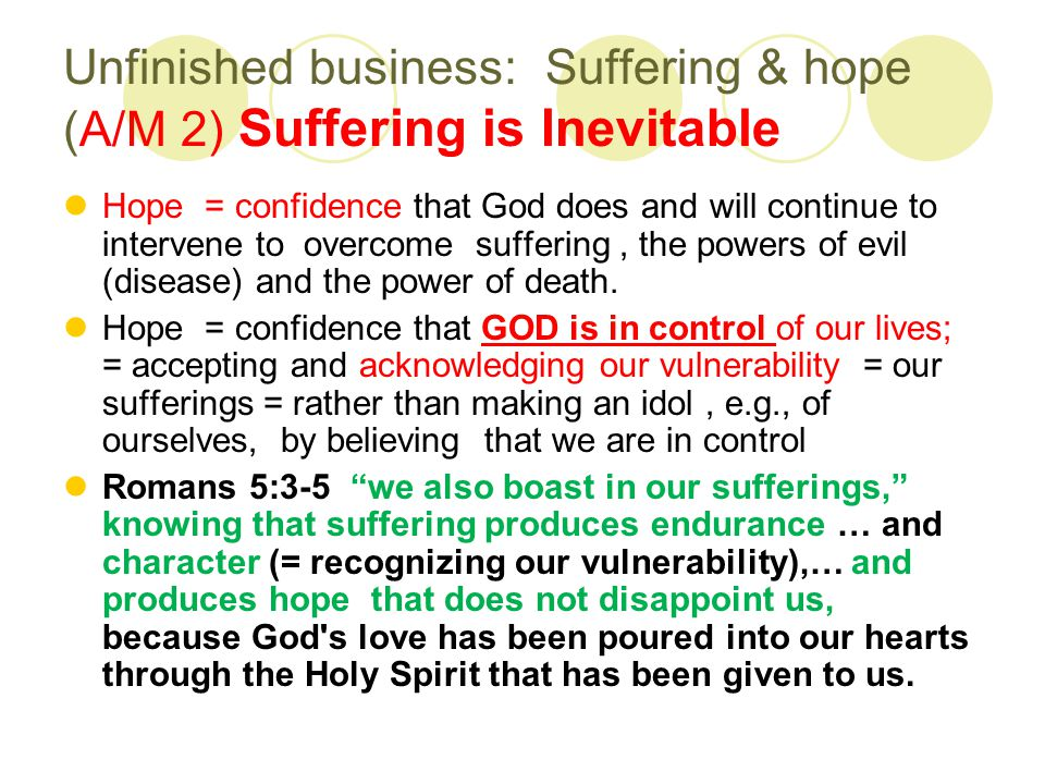 Unfinished business: Suffering & hope (A/M 2) Suffering is Inevitable Hope = confidence that God does and will continue to intervene to overcome suffering, the powers of evil (disease) and the power of death.