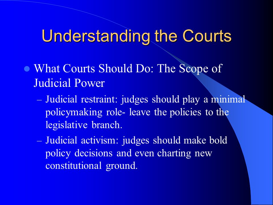 Understanding the Courts What Courts Should Do: The Scope of Judicial Power – Judicial restraint: judges should play a minimal policymaking role- leav