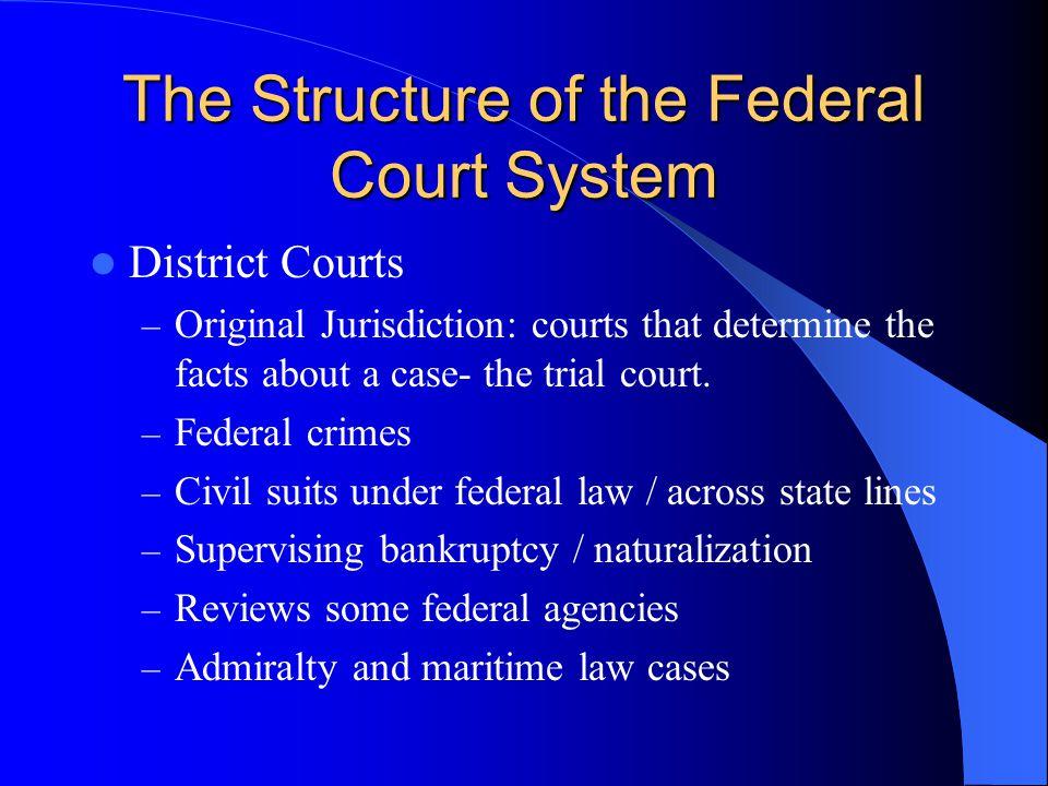 District Courts – Original Jurisdiction: courts that determine the facts about a case- the trial court. – Federal crimes – Civil suits under federal l