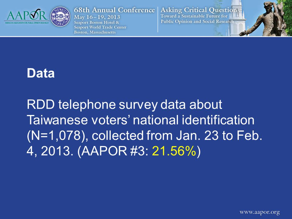 Data RDD telephone survey data about Taiwanese voters' national identification (N=1,078), collected from Jan.