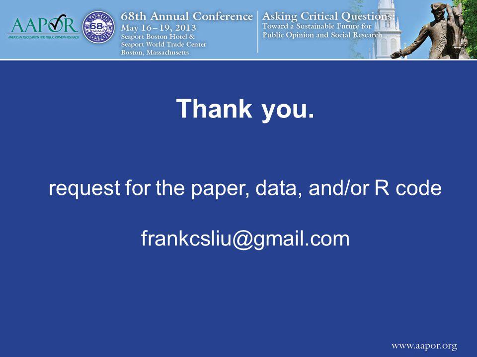 Thank you. request for the paper, data, and/or R code frankcsliu@gmail.com