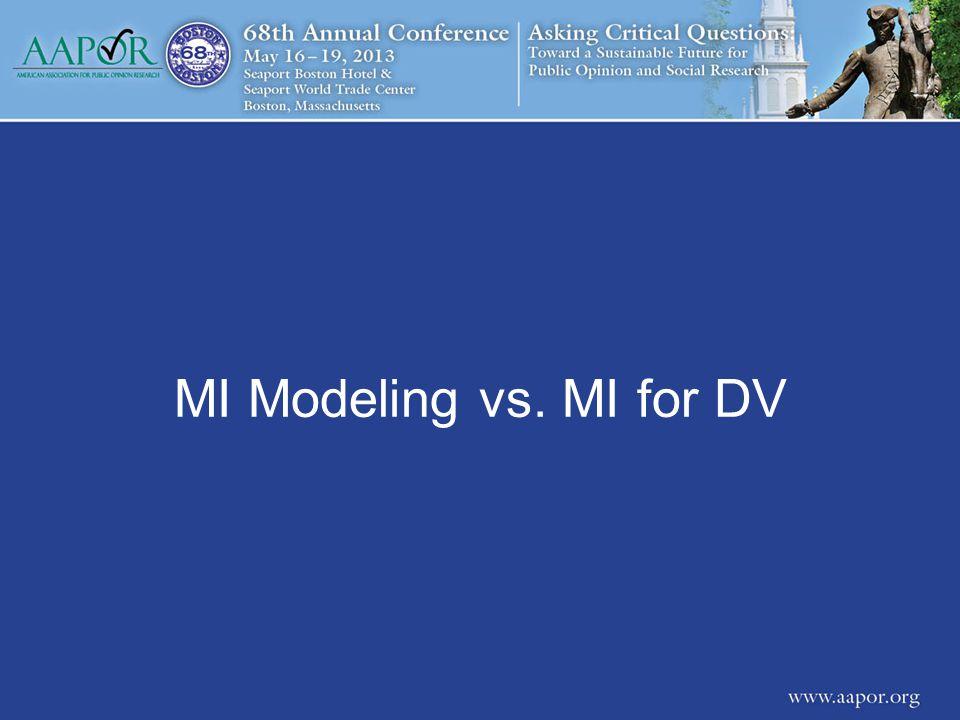 MI Modeling vs. MI for DV