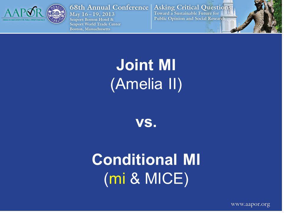 Joint MI (Amelia II) vs. Conditional MI (mi & MICE)