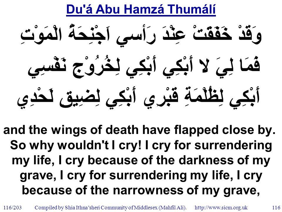 Du á Abu Hamzá Thumálí 116/203 116 Compiled by Shia Ithna'sheri Community of Middlesex (Mahfil Ali).