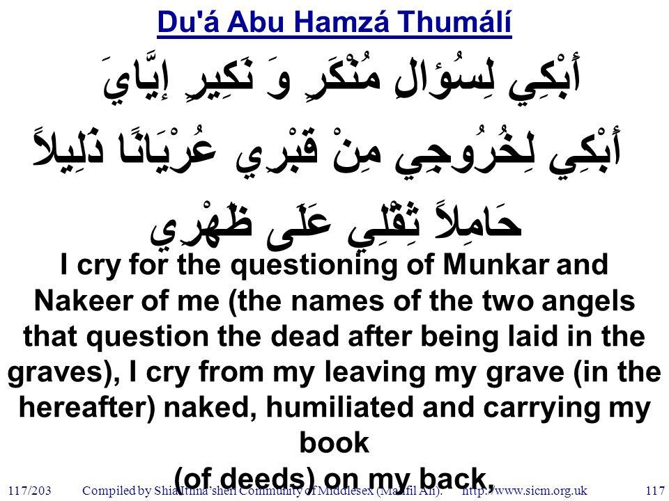 Du á Abu Hamzá Thumálí 117/203 117 Compiled by Shia Ithna'sheri Community of Middlesex (Mahfil Ali).