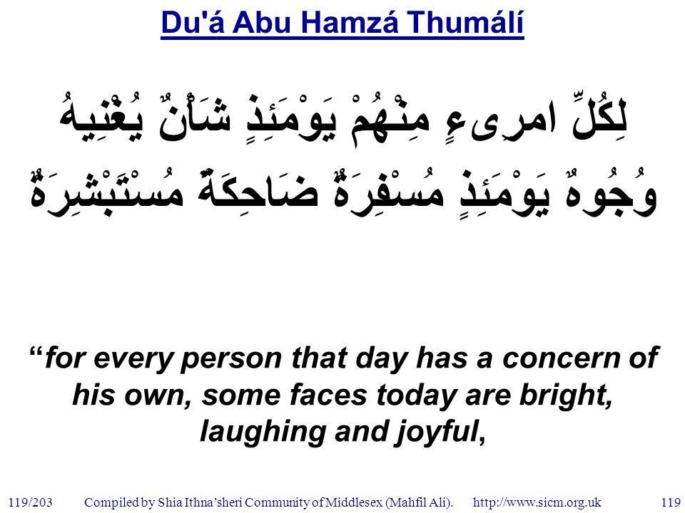 Du á Abu Hamzá Thumálí 119/203 119 Compiled by Shia Ithna'sheri Community of Middlesex (Mahfil Ali).