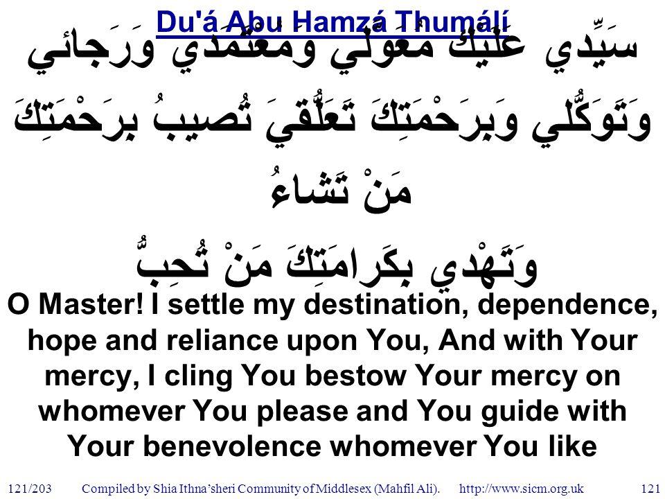 Du á Abu Hamzá Thumálí 121/203 121 Compiled by Shia Ithna'sheri Community of Middlesex (Mahfil Ali).
