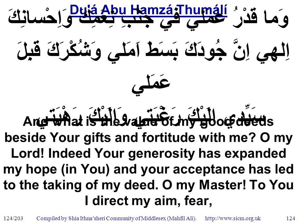 Du á Abu Hamzá Thumálí 124/203 124 Compiled by Shia Ithna'sheri Community of Middlesex (Mahfil Ali).