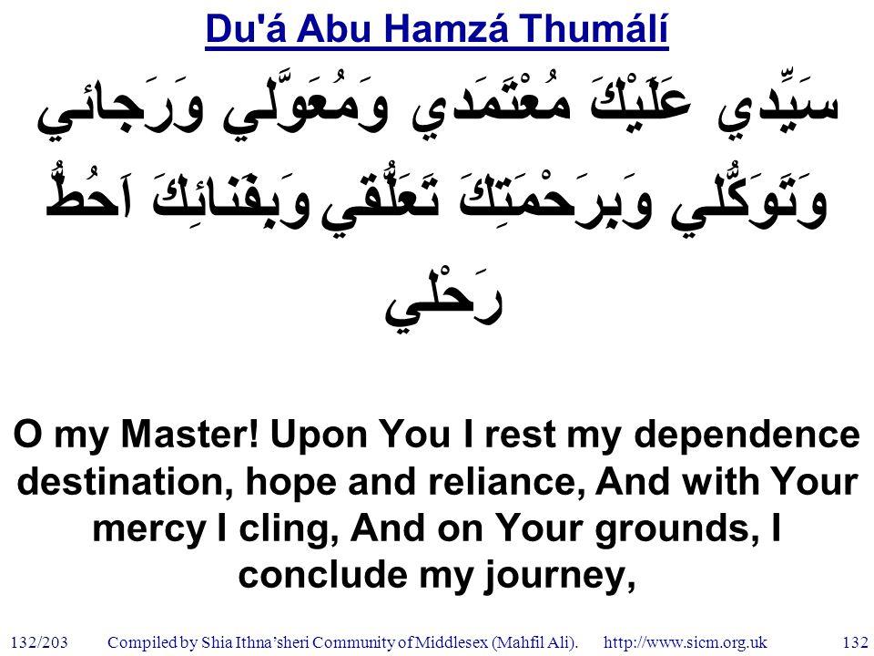 Du á Abu Hamzá Thumálí 132/203 132 Compiled by Shia Ithna'sheri Community of Middlesex (Mahfil Ali).