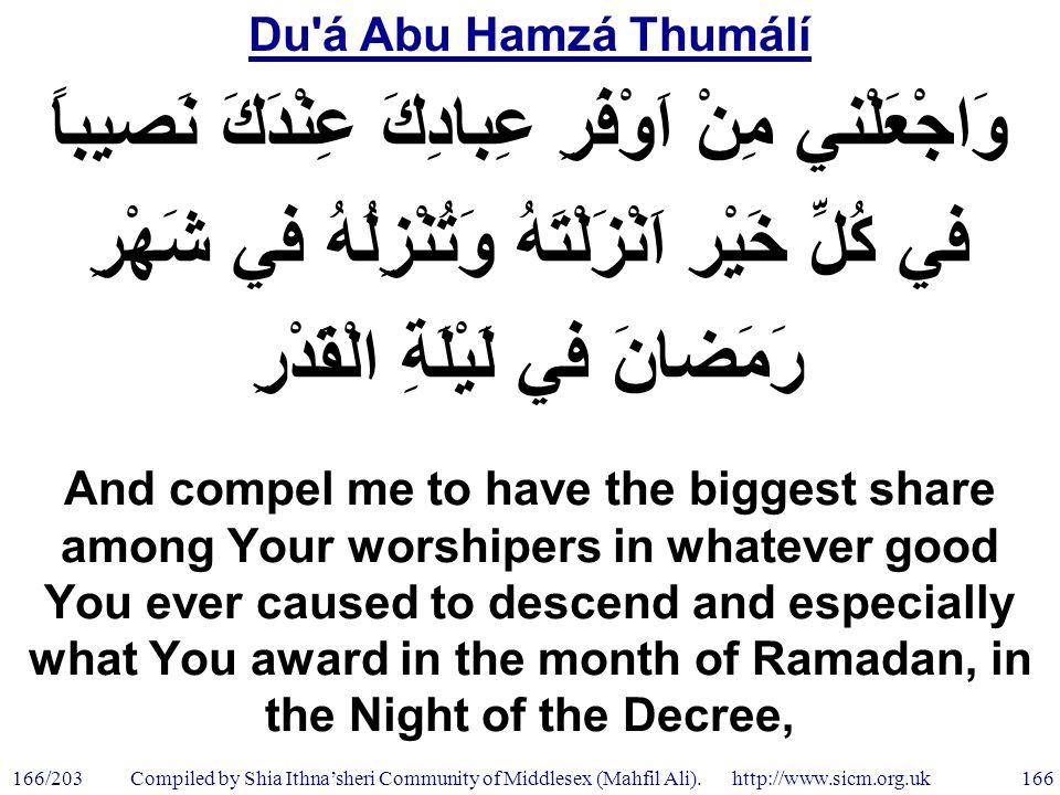 Du á Abu Hamzá Thumálí 166/203 166 Compiled by Shia Ithna'sheri Community of Middlesex (Mahfil Ali).