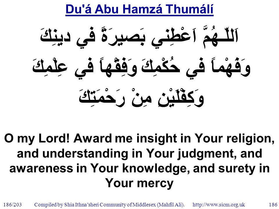 Du á Abu Hamzá Thumálí 186/203 186 Compiled by Shia Ithna'sheri Community of Middlesex (Mahfil Ali).