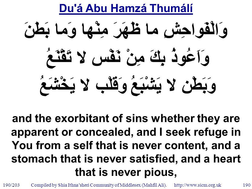 Du á Abu Hamzá Thumálí 190/203 190 Compiled by Shia Ithna'sheri Community of Middlesex (Mahfil Ali).