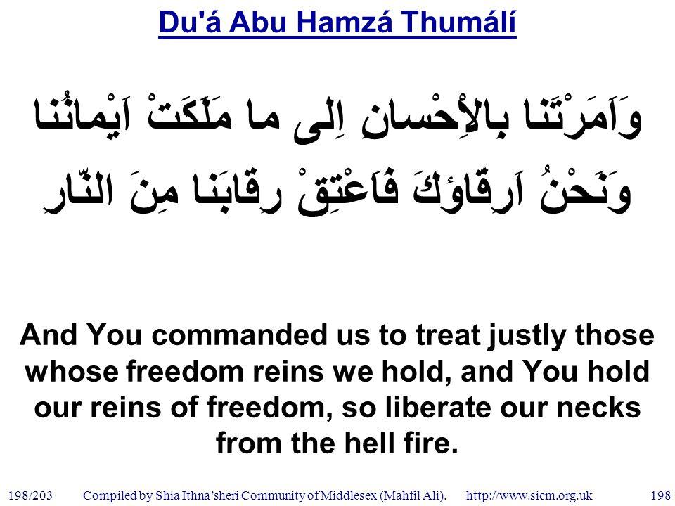 Du á Abu Hamzá Thumálí 198/203 198 Compiled by Shia Ithna'sheri Community of Middlesex (Mahfil Ali).