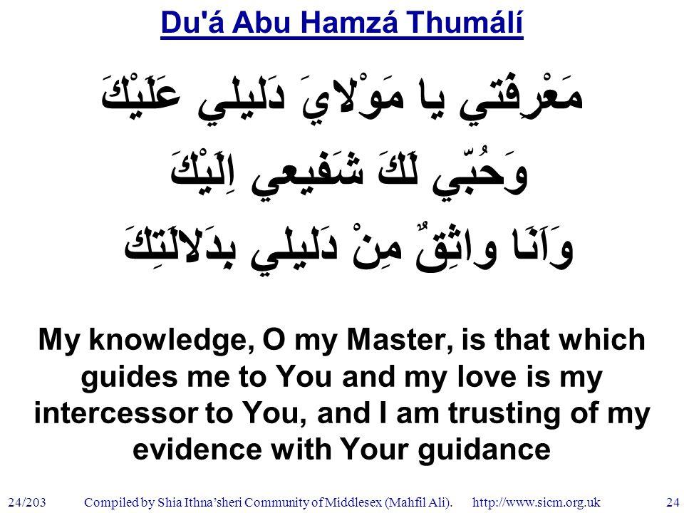 Du á Abu Hamzá Thumálí 24/203 24 Compiled by Shia Ithna'sheri Community of Middlesex (Mahfil Ali).